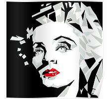 Cubist portrait of actress Marlene Dietrich Poster