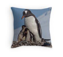 Gentoo Greetings from Antarctica Throw Pillow