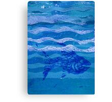 Fish and Waves Monoprint in Acrylic Canvas Print
