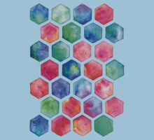 Hand Painted Watercolor Honeycomb Pattern Kids Tee