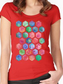 Hand Painted Watercolor Honeycomb Pattern Women's Fitted Scoop T-Shirt