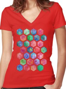 Hand Painted Watercolor Honeycomb Pattern Women's Fitted V-Neck T-Shirt