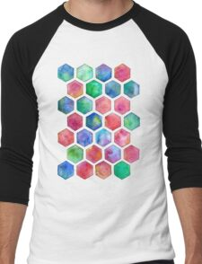Hand Painted Watercolor Honeycomb Pattern Men's Baseball ¾ T-Shirt