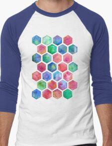 Hand Painted Watercolor Honeycomb Pattern Men's Baseball ¾ T-Shirt