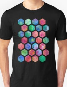 Hand Painted Watercolor Honeycomb Pattern Unisex T-Shirt