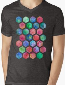 Hand Painted Watercolor Honeycomb Pattern Mens V-Neck T-Shirt