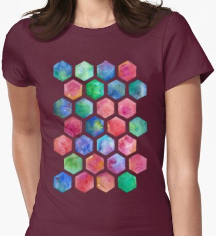Hand Painted Watercolor Honeycomb Pattern Womens Fitted T-Shirt