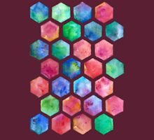 Hand Painted Watercolor Honeycomb Pattern Womens T-Shirt