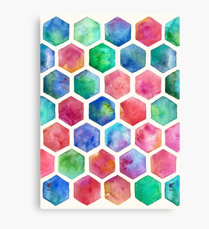 Hand Painted Watercolor Honeycomb Pattern Canvas Print