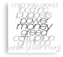 Gov vs Corporate Greed Canvas Print