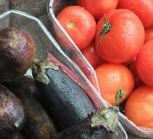 Eggplant and Tomatoes by Adam Isaacson