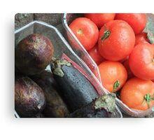 Eggplant and Tomatoes Canvas Print