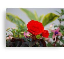 Vermilion floral utopia  Canvas Print
