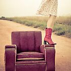 Kristel, that old chair and a country road by Glen Barton