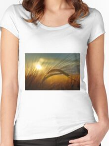 Sunset crop Women's Fitted Scoop T-Shirt