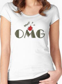 OMG What? Funny & Cute ladybug line art Women's Fitted Scoop T-Shirt