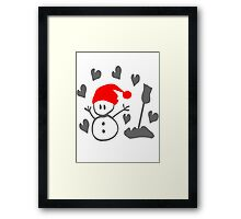 Snowman winter season holidays vector graphic art Framed Print
