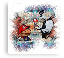Banksy street art Graffiti London Cop Super Mario Funny Parody Canvas Print