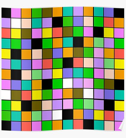 checkerboard Color Blocks Pastel Pattern Poster