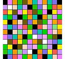 checkerboard Color Blocks Pastel Pattern Photographic Print