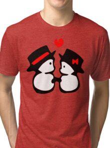 cute snowman couple vector art Tri-blend T-Shirt