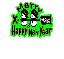 Merry X-Mas snowman vector art Photographic Print