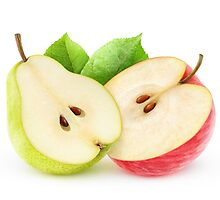 Halves of apple and pear by 6hands