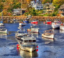 Boats in Perkins Cove Harbor by Monica M. Scanlan
