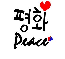 Peace in Korean txt hearts vector art Photographic Print