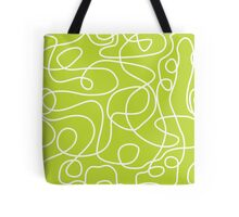 Doodle Line Art | White Lines on Lime Green Background Tote Bag
