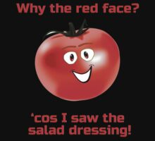 Embarrassed Tomato - Why The Red Face - Salad Dressing - Nude Vegetable Joke T-Shirt Sticker by deanworld