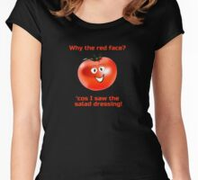Embarrassed Tomato - Why The Red Face - Salad Dressing - Nude Vegetable Joke T-Shirt Sticker Women's Fitted Scoop T-Shirt