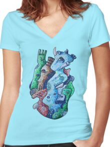 Psychedelic Animals Women's Fitted V-Neck T-Shirt