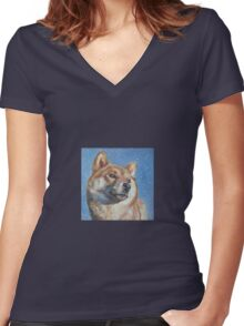 Shiba Inu Fine Art Painting Women's Fitted V-Neck T-Shirt