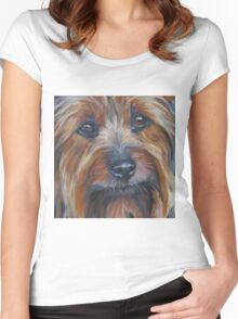 Silky Terrier Fine Art Painting Women's Fitted Scoop T-Shirt