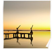 Sunrise at the boat dock Poster