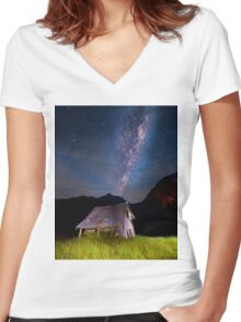 The barn at the end of the universe Women's Fitted V-Neck T-Shirt