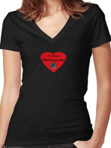 I Love Photography Shirt and Sticker Women's Fitted V-Neck T-Shirt