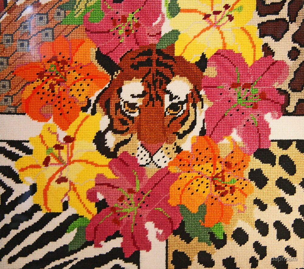 Tiger Surrounded By Hibiscus by daphsam