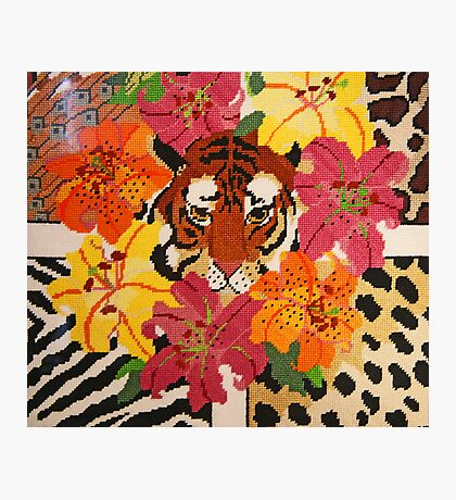 Tiger Surrounded By Hibiscus Photographic Print