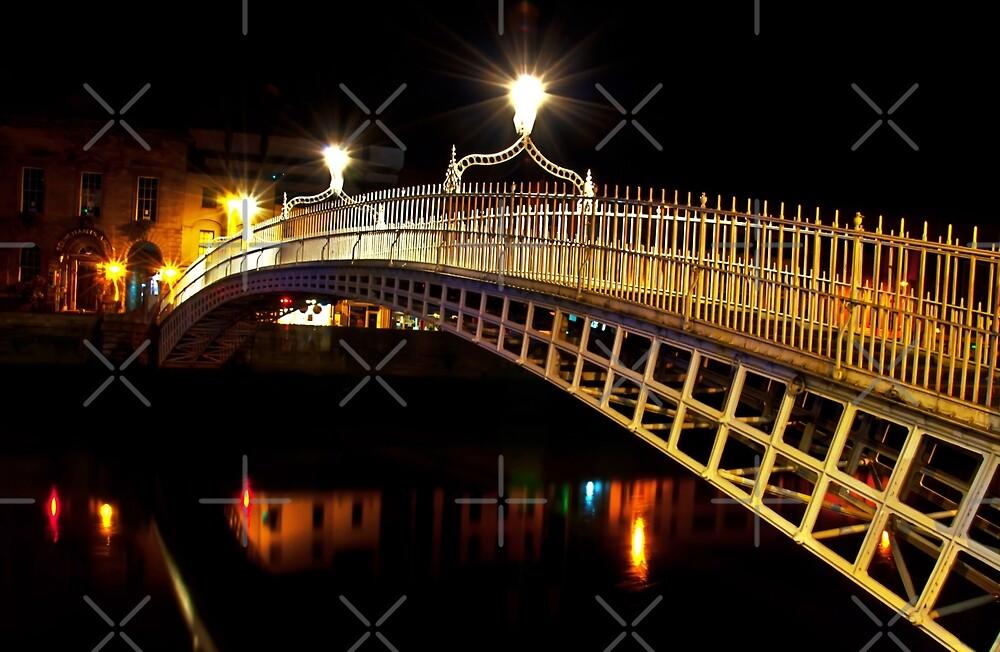 Ha'Penny Bridge At Night by Denise Abé