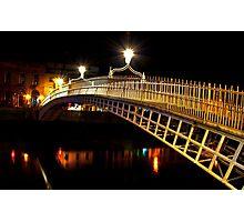 Ha'Penny Bridge At Night Photographic Print