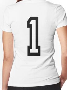 1, TEAM SPORTS, NUMBER 1, ONE, FIRST, Numero Uno, Uno, Ichi, Win, Winner, Competition Women's Fitted V-Neck T-Shirt