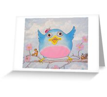 Bluebird and friends 4 - Happy themed critter friends grouping intended for a childs room Greeting Card
