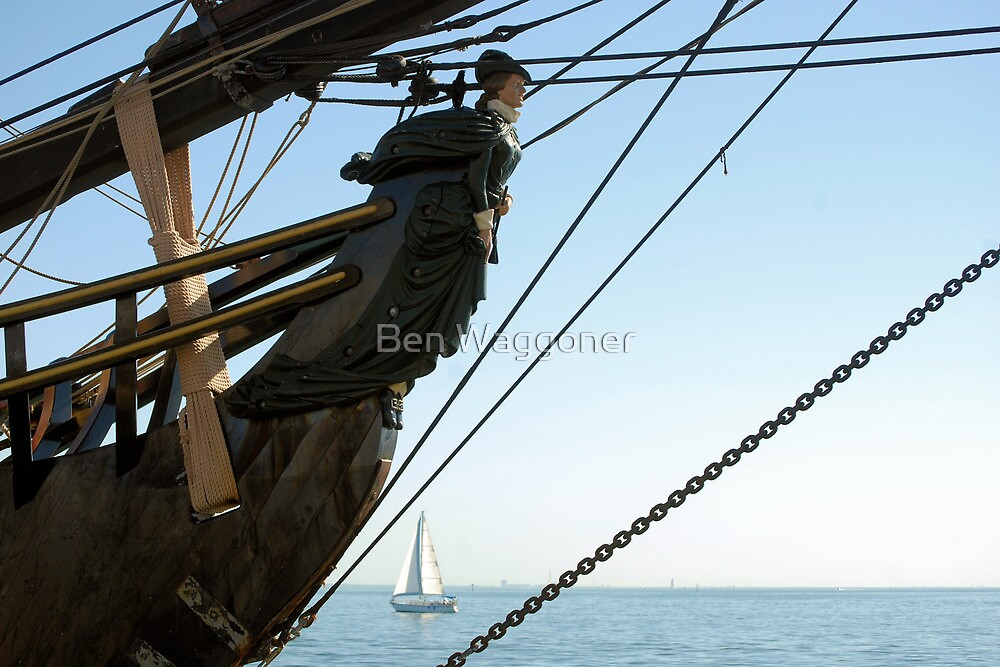 HMS Bounty figurehead with sailboat by Ben Waggoner