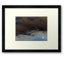 hope (clouded sky, white bird flying free) Framed Print