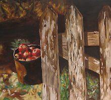 Apples on a Fence by John Entrekin