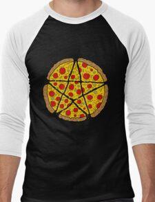 Satan Loves Pizza Men's Baseball ¾ T-Shirt