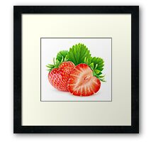 Two strawberries with leaf Framed Print