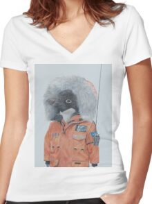 Antarctic Penguin Women's Fitted V-Neck T-Shirt
